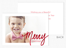 Shimmery Merry Christmas Flat Photo Holiday Card
